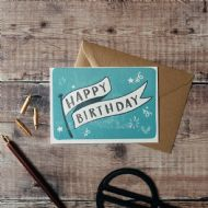 Hunter Paper Co. Happy Birthday Banner Card